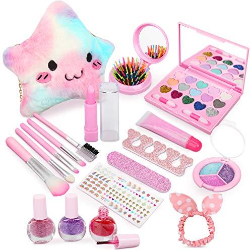 Dreamon Kit de Maquillaje Niñas Lavables, Seguro y No Tóxico Cosméticos con Bolsa de Felpa Regalo para Niñas Chicos 3 años