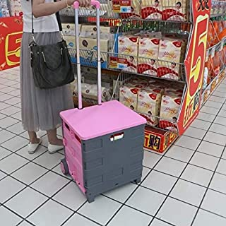 WYAN AU Portable Home Shopping Folding Old Man Shopping Supermarket Trolley(Red) (Color : Pink)