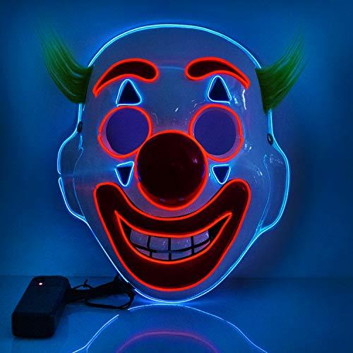 T98 Halloween Maske, LED Maske mit 3 Blitzmodi Clown Maske für Kinder Mann Frau, Weihnachten, Karneval, Party, Kostüm Cosplay, Dekoration (Clownnew)