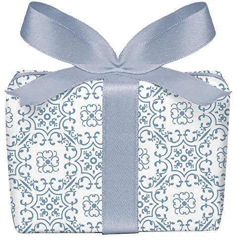 5er-Set Geschenkpapier Bögen UNIVERSAL in BLAU WEIß mit Ornamente zu jedem Anlass • Für Geburtstage, Hochzeit, Weihnachtsgeschenke, Adventskalender • Format : 50 x 70 cm