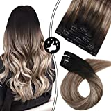 Moresoo Hair Extensions with Lace Clip in Hair Extensions Fine Hair 10inch Short Hair Blonde Highlighted Hair Extensions Black Roots 5Pieces Human Hair Clip ins