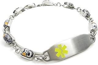 Pre-Engraved /& Customized Morphine Allergy Alert Bracelet My Identity Doctor Black//White Millefiori Glass Pattern White