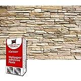GREAT ART Fototapete Steinwand Beige Hell 210 x 140 cm – Steinoptik Wandverkleidung Mauer Steinmauer Steinwand Stein-Tapete Wanddeko Wandtapete – 5 Teile Tapete inklusive Kleister