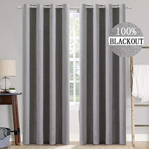 MIULEE Linen Textured Curtains for Bedroom Solid 100% Blackout Thermal Insulated Grey Curtains Grommet Room Darkening Curtains/Draperies Luxury Decor for Living Room Nursery 52 x 90 Inch (2 Panels)