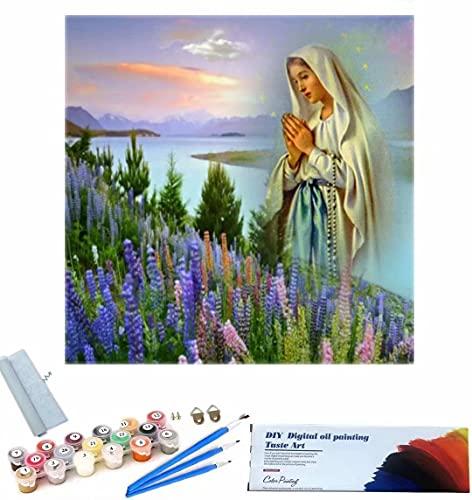 Beaxqb Dipingere con i Numeri Kit per Adulti Cultura Religiosa DIY Acrilico Dipinto Kit per Adulti e Bambini Pittura Creativa su Tela 40x40cm