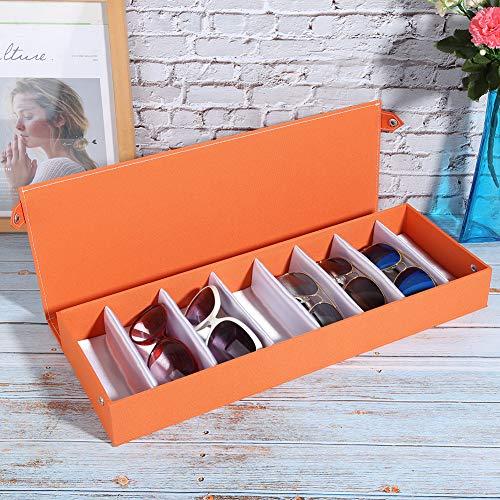 Exquisita vitrina para gafas de viaje a prueba de polvo de 18,9 x 6,9 x 2,4 pulgadas, estuche para gafas de sol, reloj de almacenamiento portátil y anteojos para viajes, tienda(Orange)