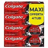 Colgate Dentifricio Sbiancante Max White Carbon, Dentifricio Minerale Delicato Al Carbone Attivo Per Denti Bianchi, 4 x 75 ml