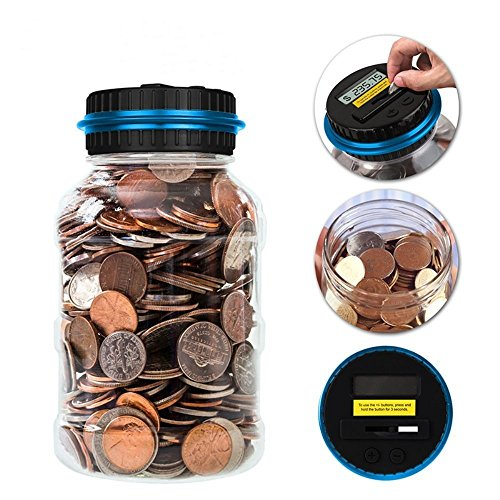AOZBZ Digital Coin Bank Saving Jar, Electronic Money Coin Saving Box Counter Automatic Piggy Bank with LCD Display Best Educational Counting Toys Gifts for Kids Children