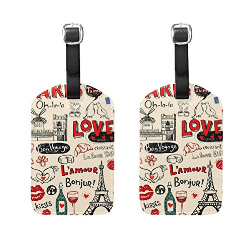 COOSUN Paris Elements Luggage Tags Travel Labels Tag Name Card Holder for Baggage Suitcase Bag Backpacks, 2 PCS
