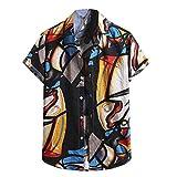 2021 Hombre Verano Camisetas ,Moda Casual de Verano Impresión Casual Camisas Hawaianas para Hombres Camisas de Manga Corta Estampadas Verano Moda Camisas Casuales con Botones Tops Camisas de Playa