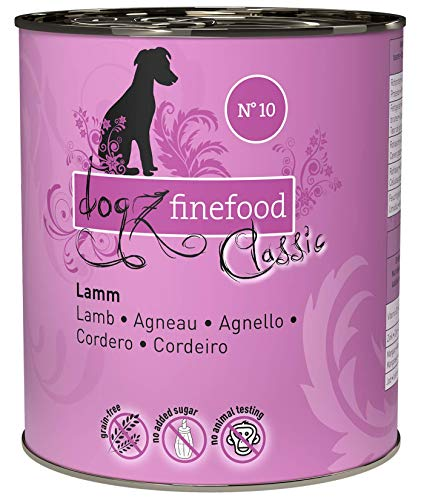 dogz finefood Hundefutter nass - N° 10 Lamm - Feinkost Nassfutter für Hunde & Welpen - getreidefrei & zuckerfrei - hoher Fleischanteil, 6 x 800 g Dose