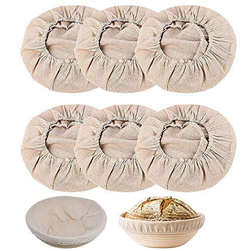 gotyou 6 Piezas AlgodóN Lino Prueba Pan Cesta Pasta FermentacióN Bolsa, redondas de lino inserto de lona, Forro de Tela de Cesta de Panificación, fundas redondas, para cestas de masa de hornear