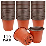 Augshy 110 Pcs 4' Plastic Plants Nursery Pot,Seed Starting Pots