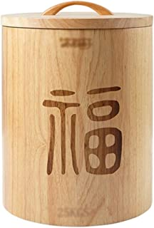 Seau de stockage de riz en bois massif de grande capacité Boîte de rangement cylindre de riz domestique Seau à riz de cuis...