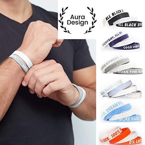 Aura Design Armband für Damen & Herren | Grau & Weiß | Sportarmband | Silikonarmband | Fitness Armband | 4 Armbänder