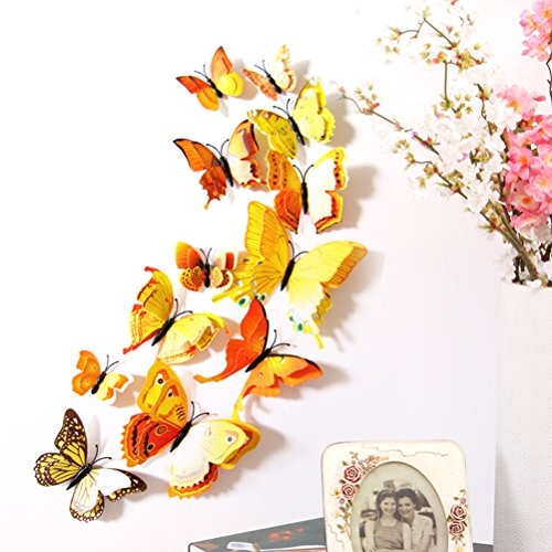 VORCOOL Calamite Frigo Magneti da Frigo Farfalle da Parete 3D Giallo 12 Pezzi