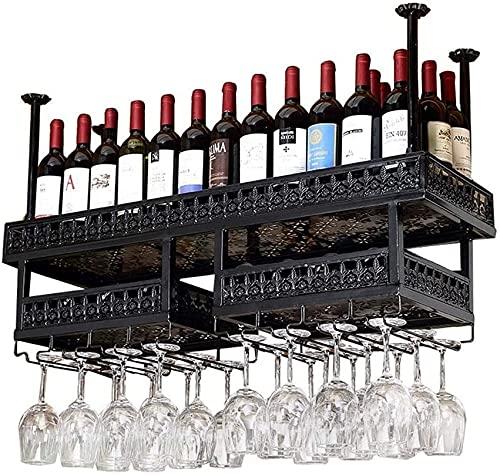 SMTAO Estante de Vino Organización de Alenamiento Estantes de Vino Metal Hierro Estante de Alenamiento de Vino Techo Montado en la Pared Colgante Estante para Copas de Vino Soporte para Botella de Vi