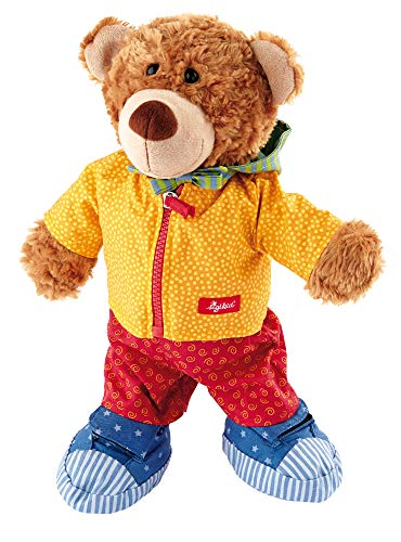 Sigikid, Mädchen und Jungen, Stofftier Lern-Bär, Spielerisch An- und Ausziehen lernen, Orange/Rot/Blau, 40031
