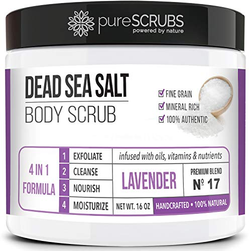 pureSCRUBS Premium Organic Body Scrub Set - Large 16oz LAVENDER BODY SCRUB - Dead Sea Salt Infused Organic Essential Oils & Nutrients INCLUDES Wooden Spoon, Loofah & Mini Organic Exfoliating Bar Soap