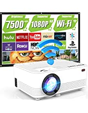 $84 » WiFi Projector, 7500Lumens Ourtoor Projector Full HD 1080P Supported Outdoor Projector, Miracast Smartphone, TV Stick, Laptop, TV, HDMI, AV, Portable Projector for Outdoor Movies
