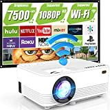 """WiFi Projector, POYANK Upgraded 7500Lumens Portable Mini Projector, Full HD 1080P and 200"""" Display Supported, Compatible with Phone/TV Stick/HDMI/AV/USB/TF/VGA"""