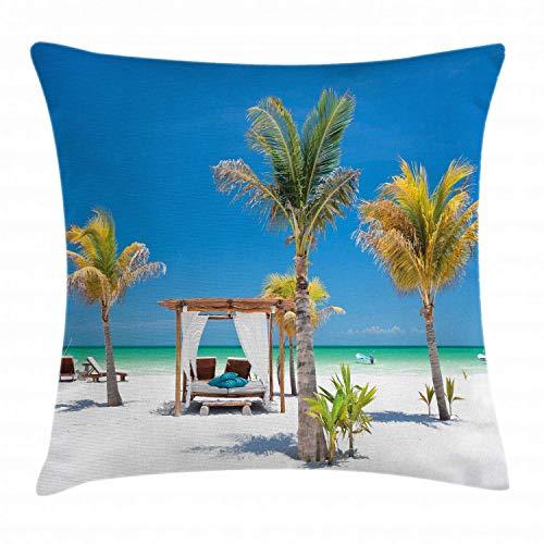 Zhengzho Tropical Throw Kissen Kissenbezug, Strandbetten unter Palmen Paradies Küste Urlaub Sommer Ozean Sonnenbaden...
