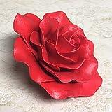 "Exquisite Rose Sugar Flower - Gumpaste Cake Topper - Red by Sugar Deco (3.5"" Red)"