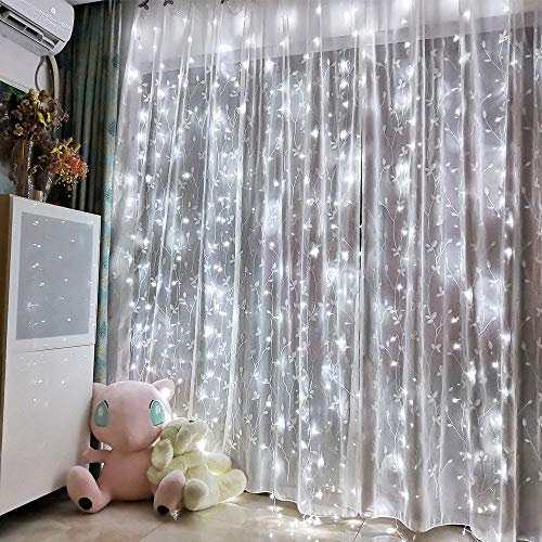 Led Curtain Lights 8 Modes USB with Remote perfer for Home Room Bedroom Wedding Party Window Wall Christmas Decorations ( White)