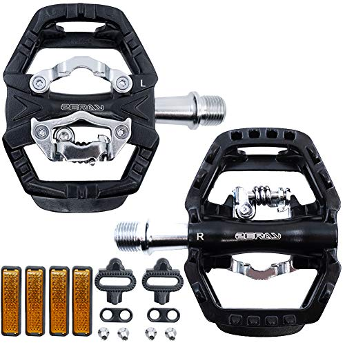 ZERAY Mountain Bike Pedal with Cleats MTB Pedals Clip Cycling Pedals Spin Bicycle Pedals Peloton Flat Dual Platform Compatible with SPD Cleats