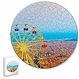 España Turismo en Barcelona Rompecabezas de 195 Piezas con Forma Redonda de Animales de Madera para niños y Adultos, Recuerdos de 16.5 × 16.5 Pulgadas