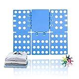 ValueHall Doblador de Ropa 56 x 68 cm Tabla para Doblar Doblador de Camisetas Adjustable Carpeta de Ropa para Adulto o Infantil Camisetas Pantalones Toallas V7031A (Azul)
