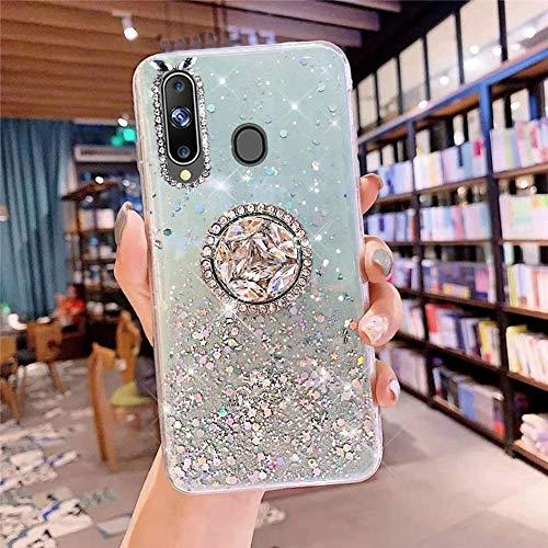 Herbests Kompatibel mit Samsung Galaxy A20S Hülle mit Ring Halter Ständer Glänzend Bling Strass Glitzer Stern Transparent TPU Silikon Schutzhülle Handyhülle Tasche Crystal Clear Case,Grün