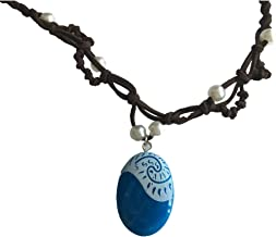 Moana Necklace for Kids Girls Women Blue Pendant Handmade Weave Rope Chain