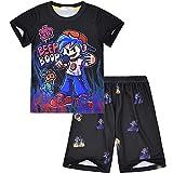 Pijama para niños de Viernes por la Noche Funkin, 2 unidades/Set de ropa para niños, camiseta de manga corta + pantalones cortos, Negro, 9-10 Years