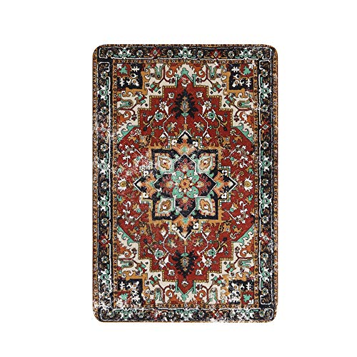 Lahome Collection Traditional Oriental Area Rug - 2' X 3' Faux Wool Non-Slip Distressed Vintage Area Rug Small Accent Throw Rugs Floor Carpet for Door Mat Entryway Bedrooms Decor (2' X 3', Red)