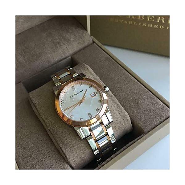 Diamonds 34mm Swiss Rose Gold 2 Tone Silver Date Dial Women Stainless Steel Wrist Watch BU9127