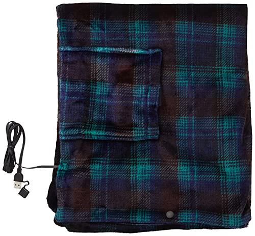 [山善] 電気ひざ掛け ポンチョ USBブランケット 130×80cm 丸洗い可能 電気毛布 肩掛け チェック柄ブルー YHK-US40(MS) [メーカー保証1年]
