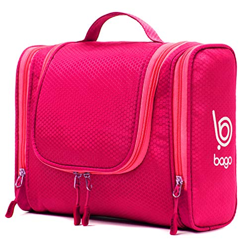 Bago Hanging Toiletry Bag For Women & Men - Leak Proof Travel Bags for Toiletries with Hanging Hook & Inner Organization to Keep Items From Moving - Pack Like a PRO (Pink)