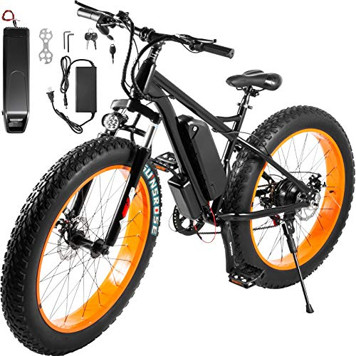 Bestauto Electric Scooter Electric Bicycle Black Orange Electric Bike Stable 500W Electric Bike for Men Fat Tire 12Ah E-Bike 37 Miles Longest Range for Easy Transportation