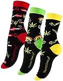 Vincent Creation 3 Paar Bunte Lustige Socken, Damen und Herren Fun Socks, Witzige Strümpfe, Verrückte Socken Modische Oddsocks Mehrfarbig als Geschenk, Einheitsgrösse (36-40, Rastaman, Hanf)