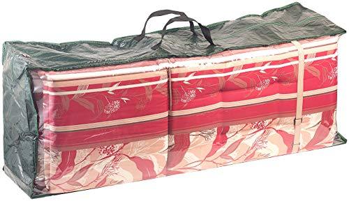 Royal Gardineer Auflagentasche: Gewebeplane-Tasche für Gartenmöbel-Sitzkissen, 130x50x32 cm, 150 g/m² (Auflagenhülle)