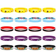 Totem World 20 Rubber Bracelets Suitable for Kids Pokemon Theme Birthday Party Favors - Durable Silicone Bracelets Provide Hours of Fun