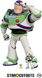 Star Cutouts SC1361 Toy Story 4 Lifesize Cutout Buzz Lightyear Saluting with Free Desktop Cardboard Standee 129cm Tall, Multicolour