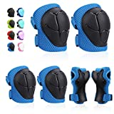 Kids Protective Gears SKL Knee Pads for Kids Knee and Elbow Pads with Wrist Guards 3 in 1 for Skating Cycling Bike Rollerblading Scooter (Blue, [Upgraded Vistion 3.0])