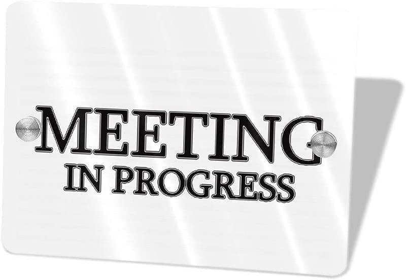 2vf78wew11 Meeting In ProgressCustom Door Sign 5 5 X 7 5 Door Suite Wall Sign Name Plate For Wall Front Door Decor Indoor Outdoor