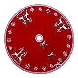 Vertvie Stricken Weihnachtsbaum Röcke Christbaumdecke Rund Faltende Teppich Decke Weihnachtsbaum Deko Weihnachtsschmuck für Weihnachts Party 120cm (Rot, 120cm)