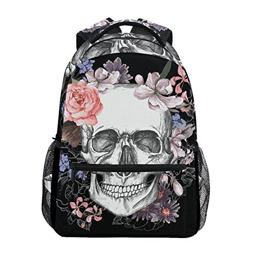 Jeansame Backpack School Bag Laptop Travel Bags for Kids Boys Girls Women Men Skulls Halloween Floral Flowers Autumn Fall