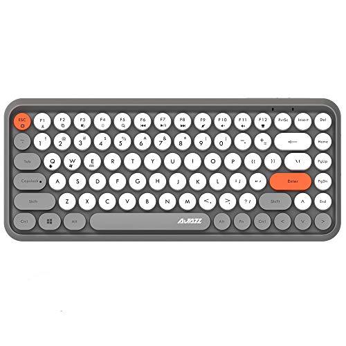 Kabellose Bluetooth-Tastatur, Niedliche Mini-Kompakttastatur mit 84 Tasten, 2,4 GHz kabellose Bluetooth-Verbindungstechnologie, ABS-Retro-runde Tastenkappe, Ergonomisches Design (Grau)