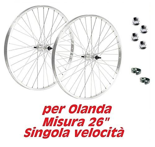CicloSportMarket Coppia Ruote Bicicletta Olanda - Bici Classica - Misura 26' x 1 3/8 + Flap e Dadi