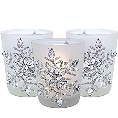"""Snowflake Votive Candleholders with Flameless Flickering LED Candles Frosted Glass Glittery Snowflakes with Jewels - 2-3/4""""h"""